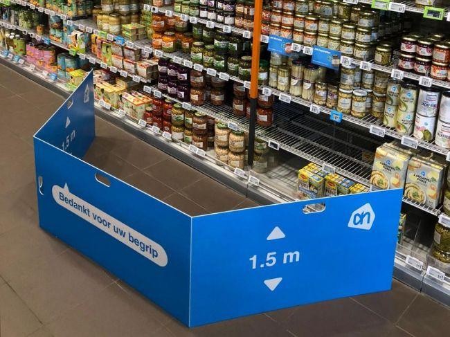 Afbakenschermen voor in supermarkten