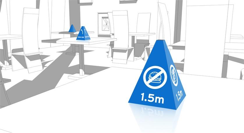 Pylon ter attentie van 1,5 meter afstand