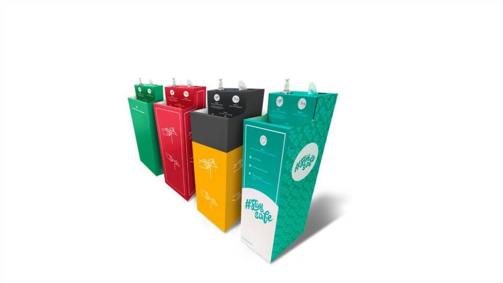 4 desinfectiezuilen in diverse ontwerpen