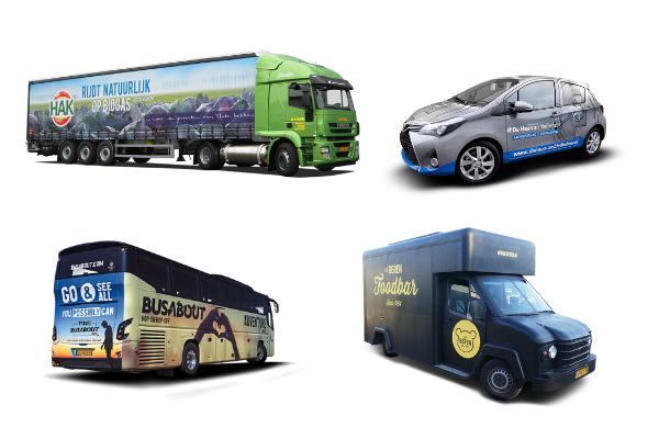 Collectie van aanbod voertuigreclame door ddreklame