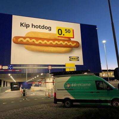 Grote constructie voor wisselframe IKEA Delft